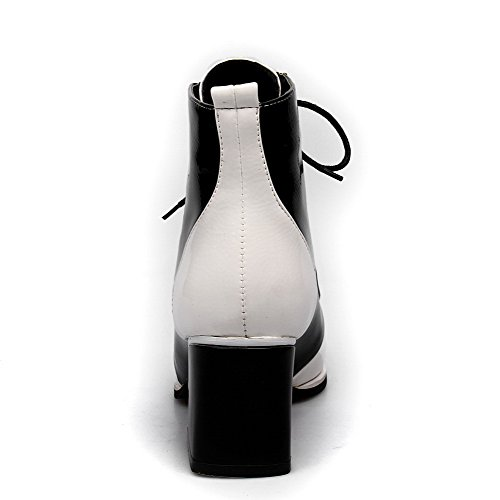 Patent Heels Platform Kitten White M Round Leather Closed AmoonyFashionWomens B 5 Toe US PU Color with Boots Assorted gwIYcq1