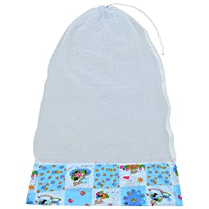 Younique Mosquito Net for Baby Cradle Swing/Mosquito Net for Baby Jhula with Side Zip Opening (0-3 yrs) (Blu n Wht)