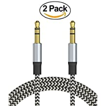 [2 PACK] 3.5mm(1/8 inch) Nylon Braided Male To Male Premium Audio Cable (3.3ft) / Auxiliary Cable / Aux Cord for Smartphones, Headphones, iPods, iPhones, iPads, Car Stereos / Home and More