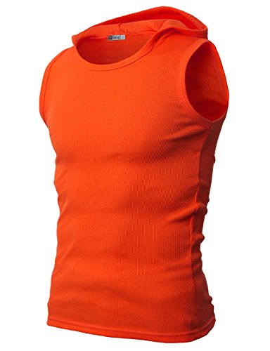 H2H Mens Daily Fashion Casual Hooded Sleeveless T-Shirts Orange US XL/Asia XXXL (JPSK05) - Top Tank Element Cotton