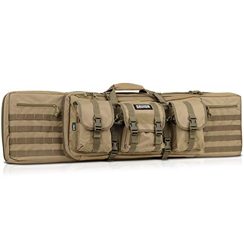 Savior Equipment American Classic Tactical Double Long Rifle Pistol Gun Bag Firearm Transportation Case w/Backpack - 51 Inch Flat Dark Earth Tan