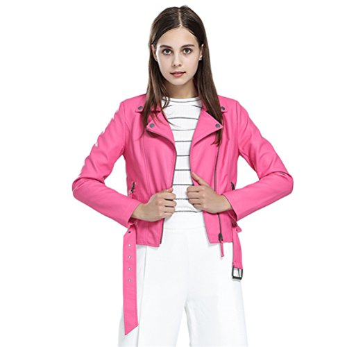 Hot Pink Jacket (Women's Fashion Faux Leather Motorcycle Jacket Pink Coat Slim PU Leather Short Bomber Jacket Blazer Casual Zipper Plus Size Jacket Outerwear with Belt (L, Hot Pink))