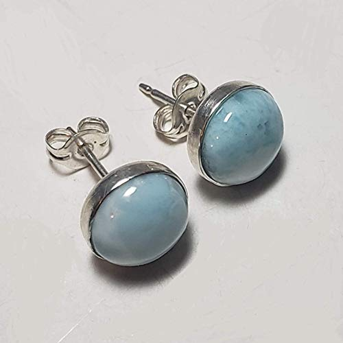 Larimar Gemstones with 925 Sterling Silver Stud Earrings Hand Made Jewelry for Women