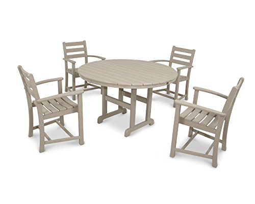 Trex Outdoor Furniture by Polywood 5-Piece Monterey Bay Dining Set, Sand Castle (Bay Dining Set)