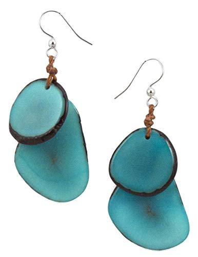Organic Tagua Fiesta Dangle Drop Earrings Ecuador Turquoise