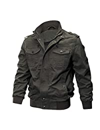 YaSaShe Men's Jacket Cotton Casual Style Stand Collar Long Sleeves Suitable for Spring/Fall/Winter