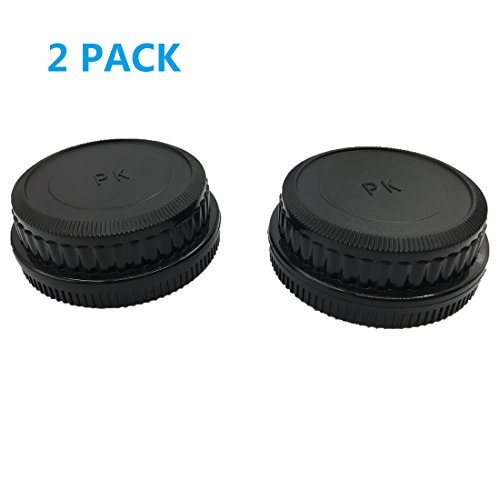 (2 PACK) LXH Camera Front Body Cap & Rear Lens Cap Cover for Pentax DSLR Cameras & Pentax K-Mount Lens Fit Pentax DS2, D, DL, DL2, K10D, K20D, K100D, K110D, ()