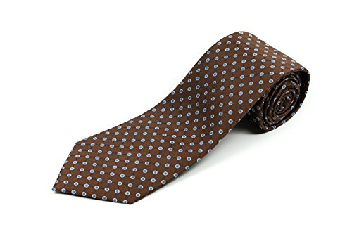 (100% Silk Extra Long Brown Necktie with Polka Dots (63 Inches Long, 3.75 Inches Wide))