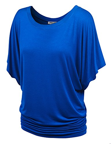 WT742 Womens Boat Neck Short Sleeve Dolman Drape Top M Cobalt_Blue ()