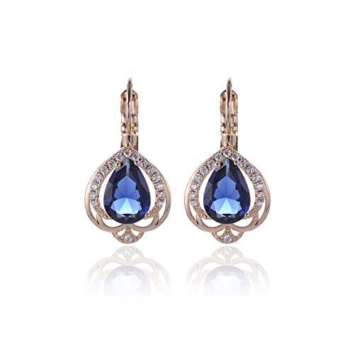 Women's Blue CZ Leverback Earrings - 14k Gold Plated Sterling Silver Teardrop Sapphire Crystal Cubic Zirconia Rhinestone Chandelier Drop Earrings for Bride Bridesmaids Mother of Bride Crown Earrrings