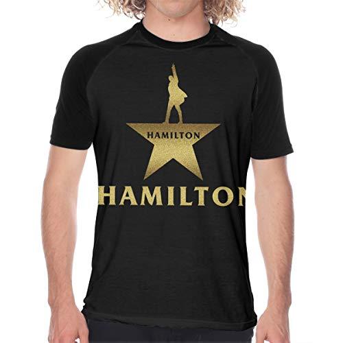 MyLoire Musical Hamilton Star Logo Men's Raglan Short Sleeve T-Shirt Casual Baseball Tee Shirt Jersey Black