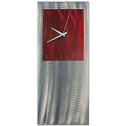 Metal Art Studio Red Studio Clock Original Metal Wall Decor, Red Color Face