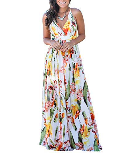 ThusFar Women's Beach Wrap V Neck Boho Adjustable Spaghetti Straps Floral Print Sundress Loose Long Swing Maxi Dress White L