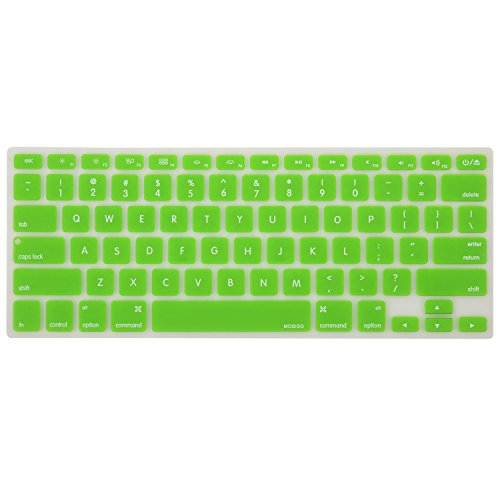 MOSISO Keyboard Cover Silicone Skin Compatible MacBook Pro 13 Inch, 15 Inch (with or Without Retina Display, 2015 or Older Version) MacBook Air 13 Inch, Green
