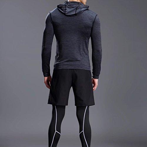 コンプレッションウェア メンズ スポーツ ウェア ランニングウェア セット長袖/半袖 吸汗 速乾 加圧 保護 高弾力 防臭 姿勢矯正 ラウンドネック 5点セット
