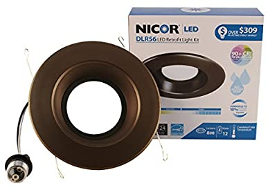 NICOR Lighting DLR56-3008-120-2K-BK 6 In. 800 lm LED Recessed Downlight In 2700K Color Temp with Black Trim,