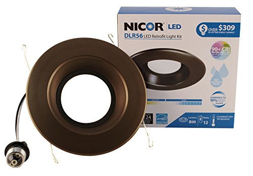 NICOR Lighting 5/6-Inch Dimmable 800-Lumen 3000K LED Downlight Retrofit Kit for Recessed Housings, Oil-Rubbed Bronze Trim (DLR56-3008-120-3K-OB) by NICOR Lighting