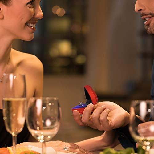 BESPORTBLE LED Beleuchtete Herzf/örmige Ring Box Vorschlag Samt Ring Fall Container f/ür Hochzeitstag Valentinstag Rot