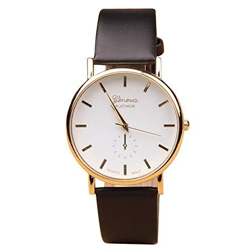 Geneva Black Leather Watch - 7