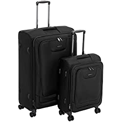 AmazonBasics 2 Piece Expandable Softside Spinner Luggage Suitcase With TSA Lock And Wheels Set - Black