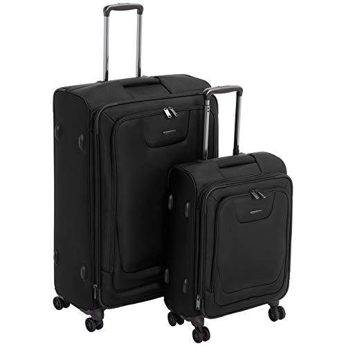 AmazonBasics 2 Piece Expandable Softside Spinner Luggage Suitcase With TSA Lock And Wheels Set - Black (2 Piece Stackable Luggage Set)