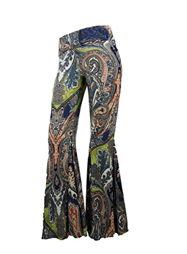 Sugar Rock Women Paisley Palazzo Hippie Pants Fold-Over Waist Bell Bottom Leg Small (Rock Bottom Clothes)