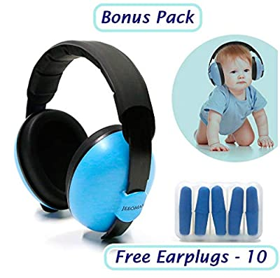 Baby Hearing Protection Ear Muffs - Free Earplugs (10) - Baby Noise Cancelling Headphones for Kids and Infants - Baby Ear Protection Earmuffs - Ages 2 to 24 Months Plus