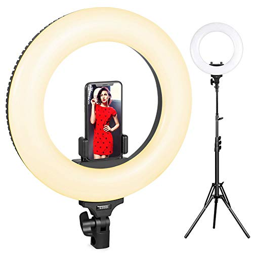 Ring Light, ESDDI 18inch Outer Adjustable Color Temperature 3200K-5600K with Stand, YouTube Makeup Dimmable Video LED Light Kit, Phone Adapter, for Video Shooting, Portrait, Vlog, Selfie
