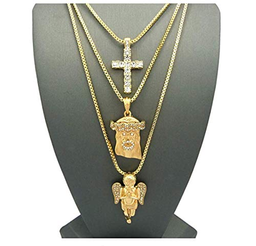 CZ Diamond Cross, Holy Angel Necklace Set. Christian Jesus Christ Piece 14K Gold Plated Chain Set. Hip Hop Bling Jewelry. 24