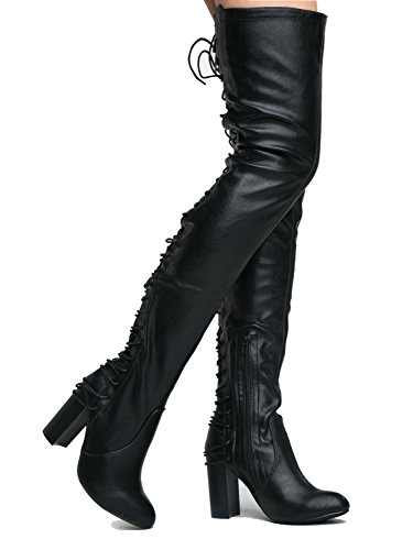 Gorgeous lace up Over the Knee Boot - Vegan Suede Thigh High - Trendy High Heel Shoe - Koko by J. Adams