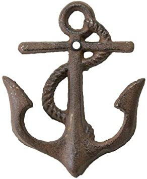 Antique Vintage Style Brass Coastal Nautical Anchor Hook Coat Hanger Hardware