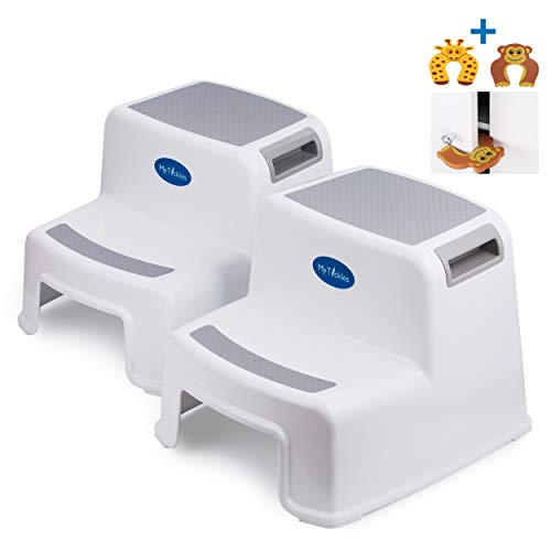 (2 Pack) 2 Step Stool for Kids with 2 Free Finger Pinch Guards! Perfect for The Bathroom and Kitchen, with Extra Thick Anti-Slip Rubber Feet.