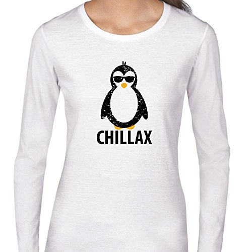 Hollywood Thread Chillax - Hilarious Penguin Wearing Sunglasses Graphic Women's Long Sleeve - Sunglasses Hollywood
