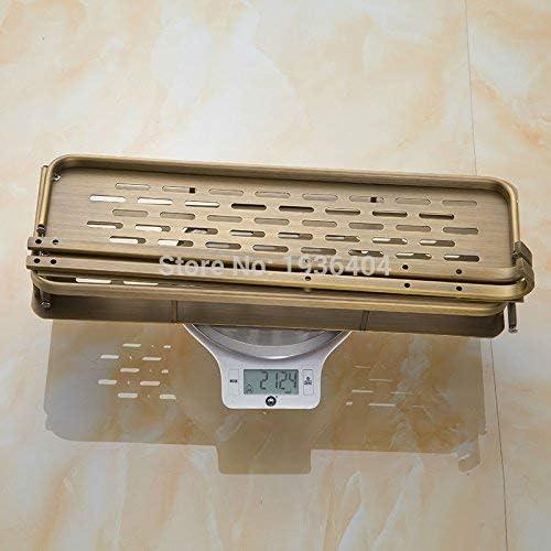 収納ラック棚 浴室付属品収納ホルダー銅レトロバスケット棚コーナーウォールマウントデュアルティアバスケットラックBS3216 家のホテルの装飾のため
