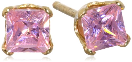 Disney Princess Girls' 14k Yellow Gold and Pink Cubic Zirconia Stud Earrings