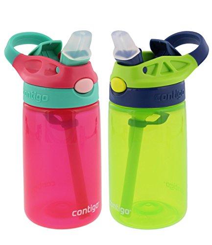 Contigo Kids Autospout Gizmo Water Bottle, 14oz (Cherry Blossom/Chartreuse) - 2 Pack