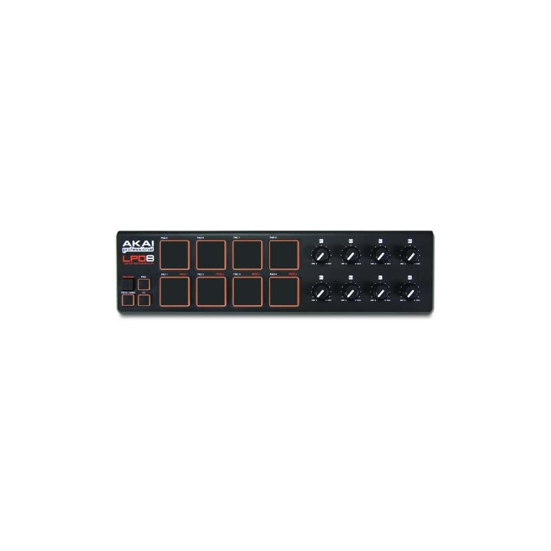 Akai Professional LPD8   Ultra-Portable USB Drum Pad MIDI Controller for Laptops (8 Pads / 8 Knobs)