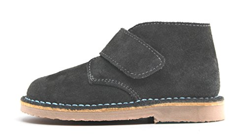 POM Shoes Madrid Mini Gray & Blue Velcro Boots with Leather Lining and Blue Accents 27 EU (8 M US Toddler) by POM Shoes (Image #2)