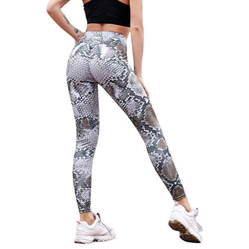 JOFOW Leggings Womens Snakeskin Python Pattern Print Ruched Butt Yoga Pants High Waist Stretch Skinny Long Trousers (M,Gray - Brown)