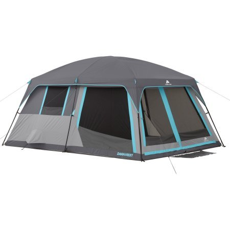 (14' x 10' Ozark Trail 10-Person Half Dark Rest Cabin Family Camping Tent for Outdoor Adventures, Includes 2 Pockets and Electrical Port Access with Ground Vents for Improved Air Circulation)