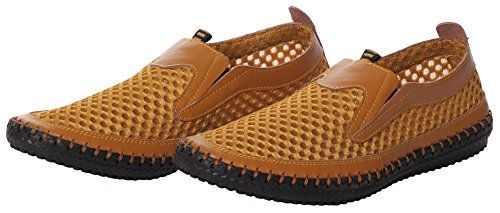 CAIHEE Mens Shoes Water On Slip Driving Shoes Yellow Breathable Loafers Casual Mesh gfrnxRg