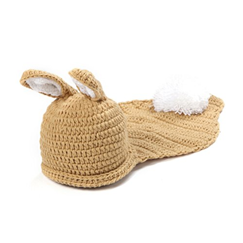 OULII Baby Costumes Photography Prop Infant Crochet Knitted Rabbit Hat Outfit
