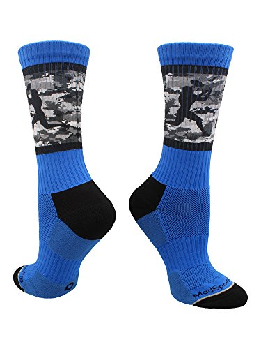 MadSportsStuff Football Player Camo Athletic Crew Socks (Royal/Black, Small) -