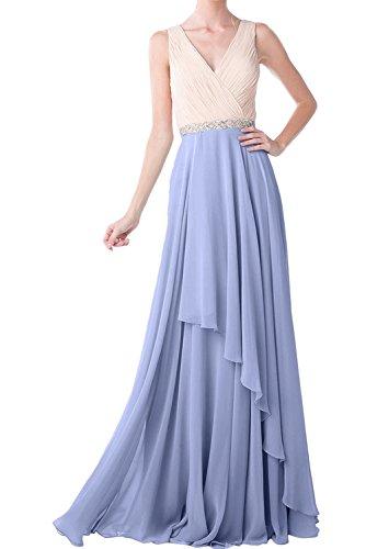 Lavendel Festkleid V Einfach Ballkleider Damen Ivydressing Ausschnitt Abendkleider Lang Chiffon 6nq1P50zW