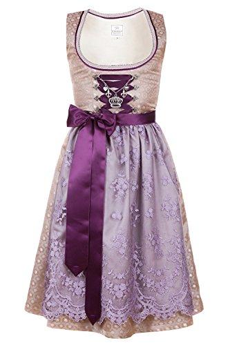 Edelnice Trachtenmode Bavarian Womens Designer Midi Dirndl Gold Brocade Dress 2-Pieces + Apron