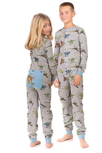 Dinosaur Union Suit Boys & Girls Onesie Pajamas T-Rex on Rear Flap, Kids 4-14