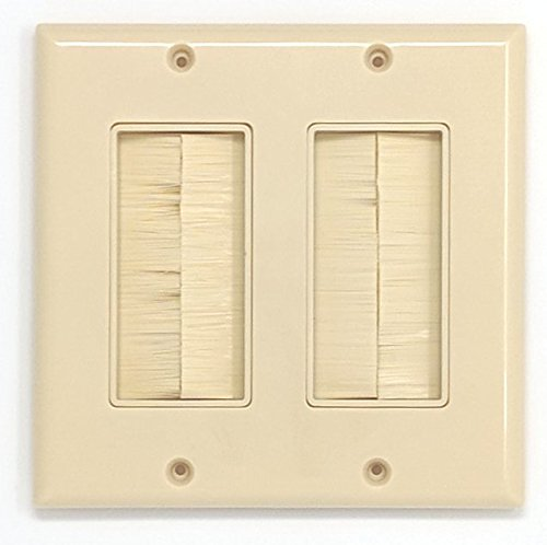 (RiteAV - Dual Gang Wall Plate with Brush Bristles - Ivory [Now Fits Larger)
