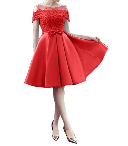 Elegant Kurz Ballkleider Cocktailkleider Partykleider Satin Damen Rot Charmant Knielang Promkleider Abendkleid 15xBzw