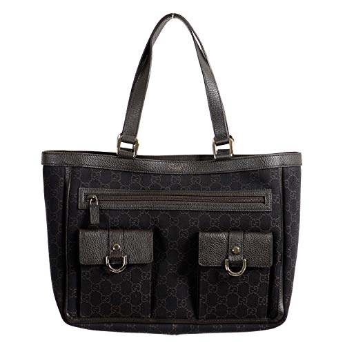 Gucci Women's Dark Brown GG Print Canvas Leather Trimmed Abbey Pocket Tote Bag ()