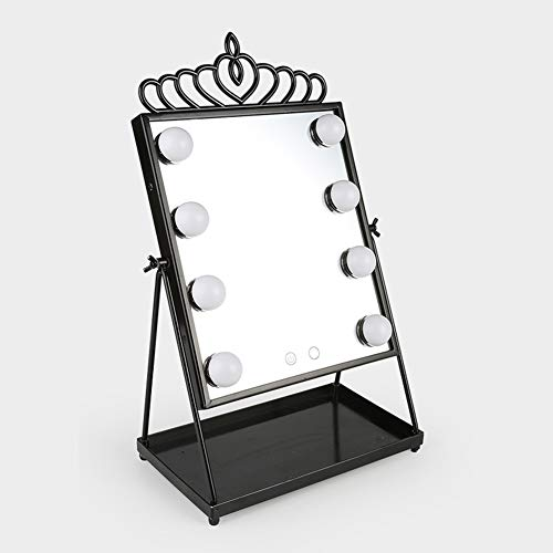 Aperture Wall Light - Large Led Light Bulb Makeup Mirror Discoloration Dimming Beauty Aperture Fill Light Metal Desktop Hollywood,Black
